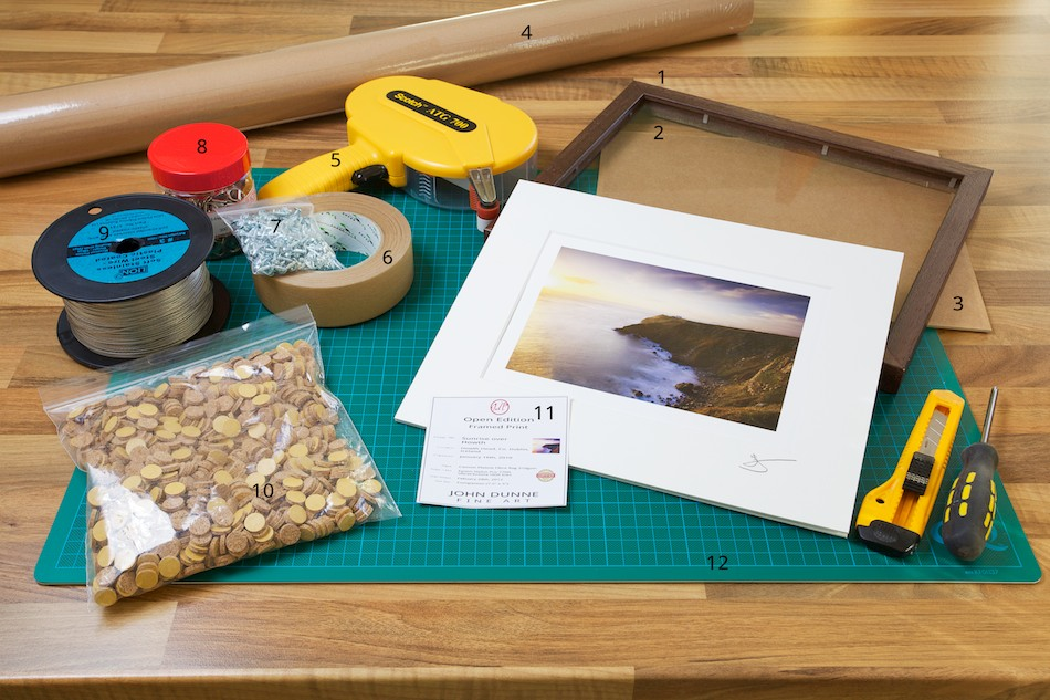 An image of the materials required to frame a Fine Art Print from John Dunne Photography by John Dunne.