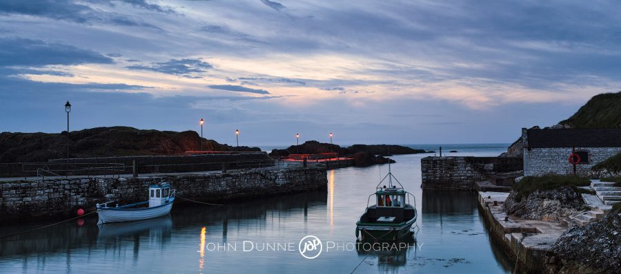 Dusk at Ballintoy Harbour by © John Dunne 2014, all rights reserved.