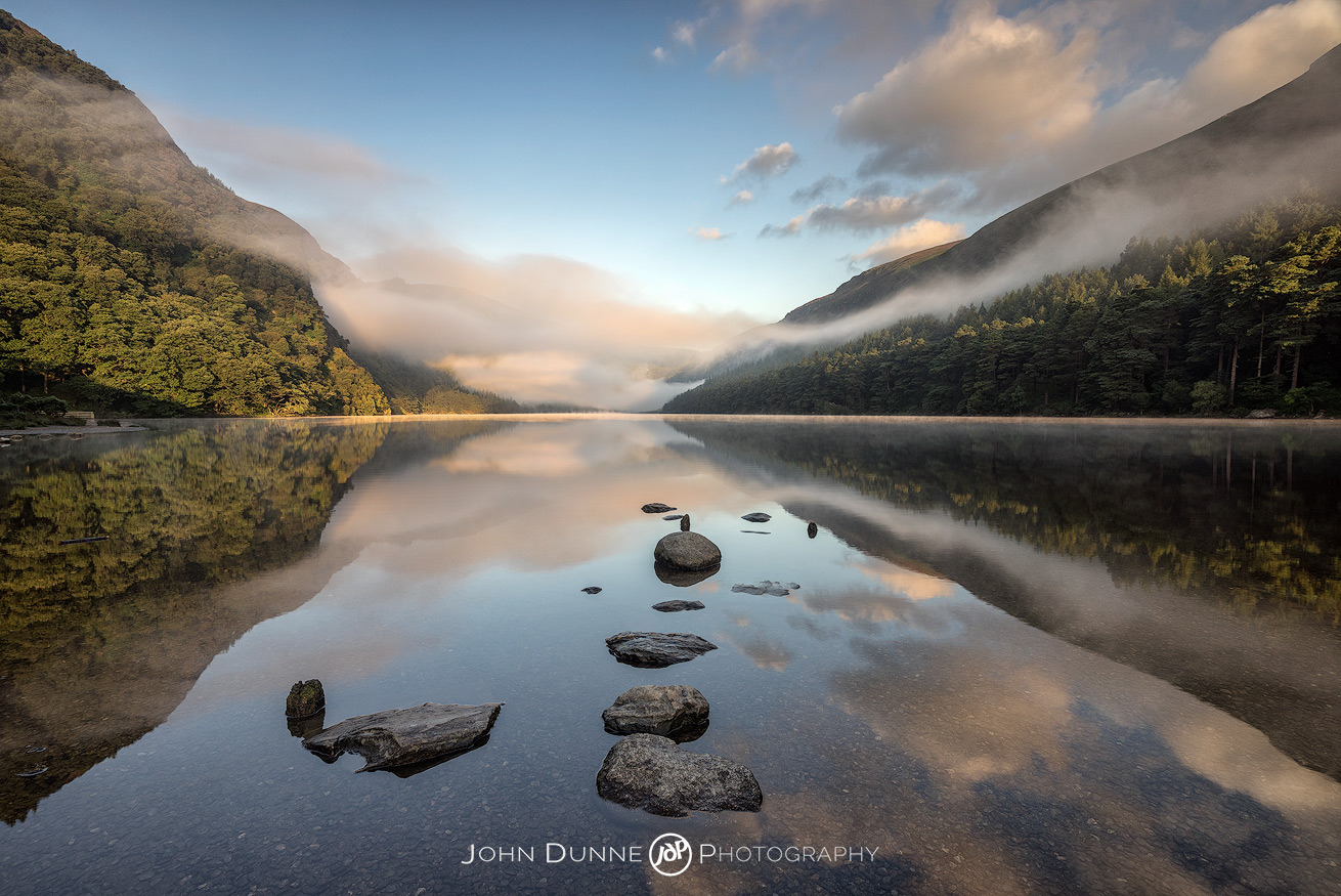 Sunrise at Glendalough's Upper Lake #1 by © John Dunne 2016, all rights reserved.