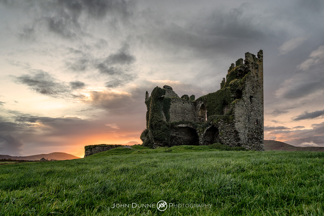 Sunset at Ballycarbery Castle #1 by © John Dunne 2017, all rights reserved.