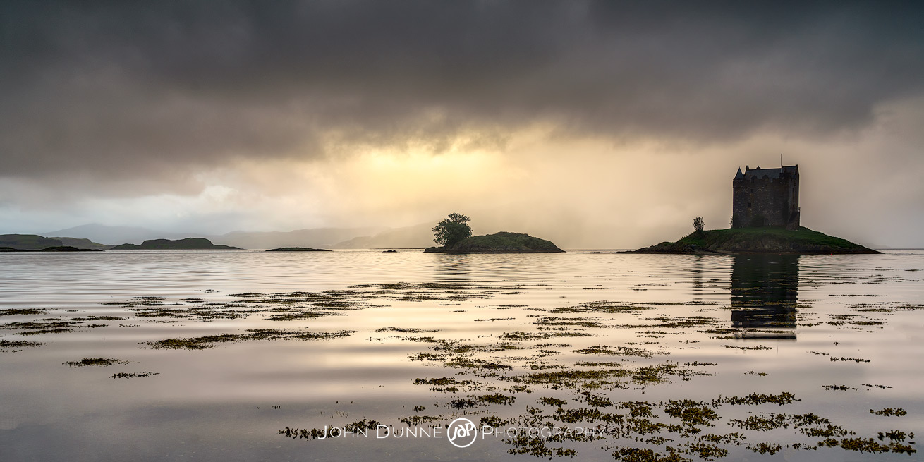 Sunset at Castle Stalker #1 by © John Dunne 2017, all rights reserved.